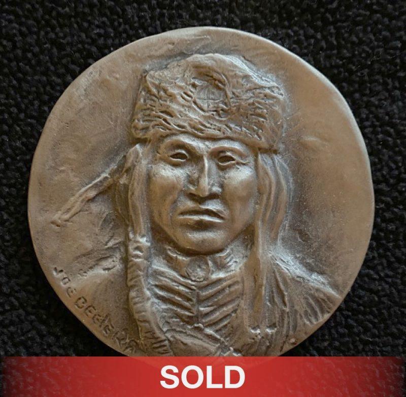 Joe Beeler medallion sculpture pewter Native American sold