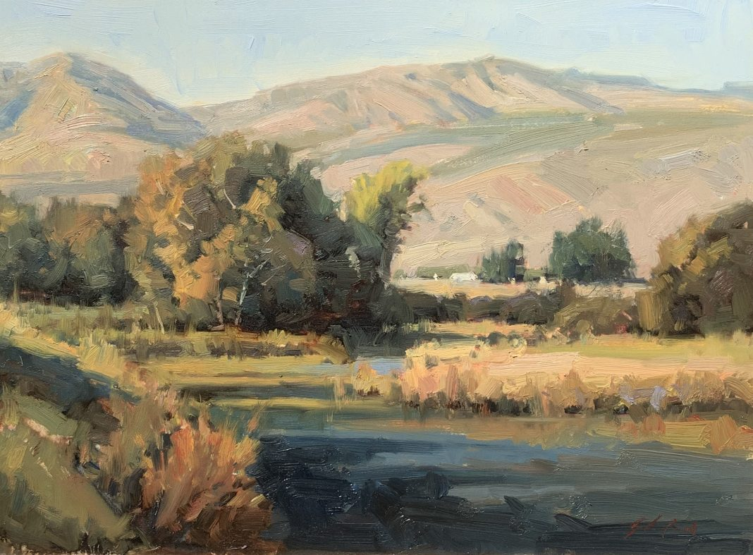John Poon High Mountain Air landscape river stream mountains trees landscape oil painting