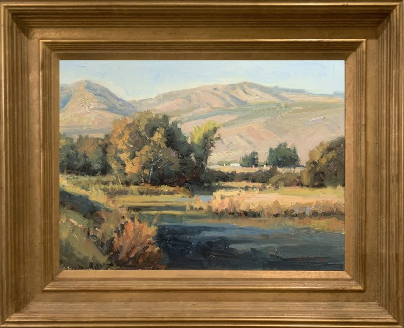 John Poon High Mountain Air landscape river stream mountains trees landscape oil painting framed