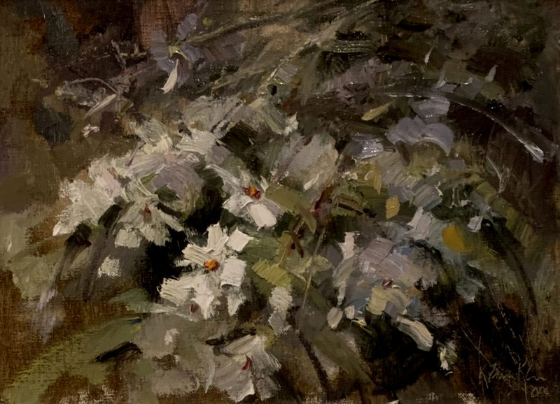 Kaye Franklin Wild White Azaleas floral flowers oil painting
