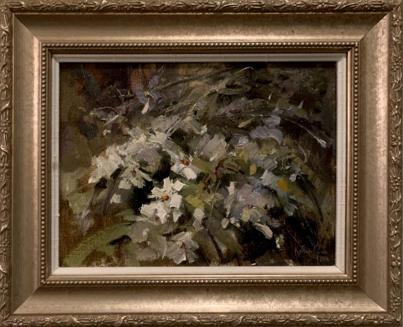 Kaye Franklin Wild White Azaleas floral flowers oil painting framed