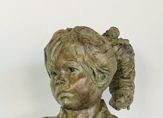 Leslie B DeMille Navajo Girl Native American western bronze sculpture