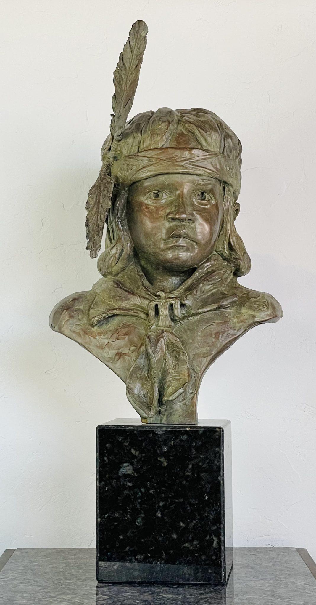 Leslie B DeMille Navajo Boy Native American western bronze sculpture