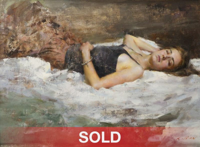 Mary Qian figure figurative impressionistic oil painting on bed