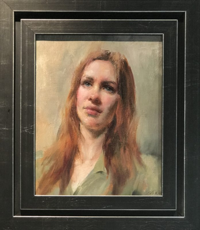 Mary Qian Kathy portrait woman impressionistic oil painting framed