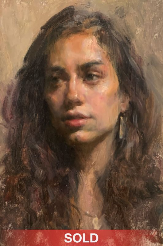Mary Qian Claire portrait figure figurative impressionistic oil painting sold