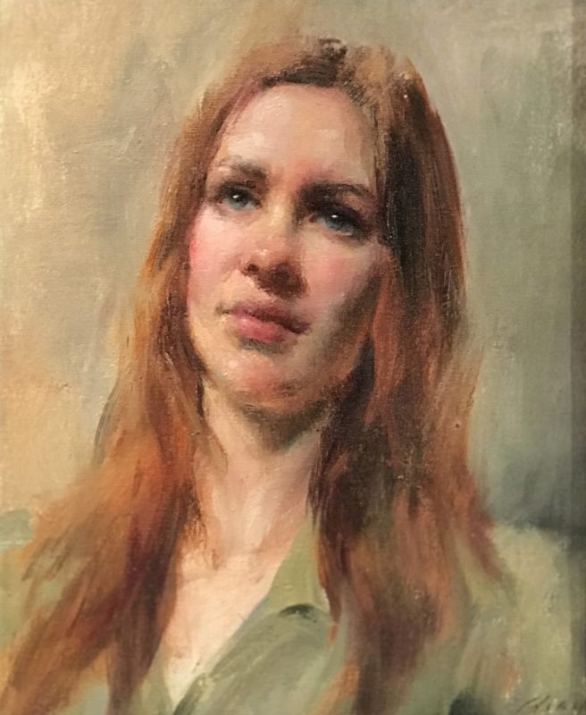 Mary Qian Kathy portrait woman impressionistic oil painting