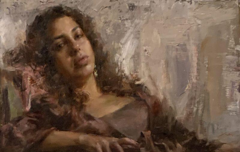 Mary Qian Kathy female portrait figure figurative impressionistic oil painting