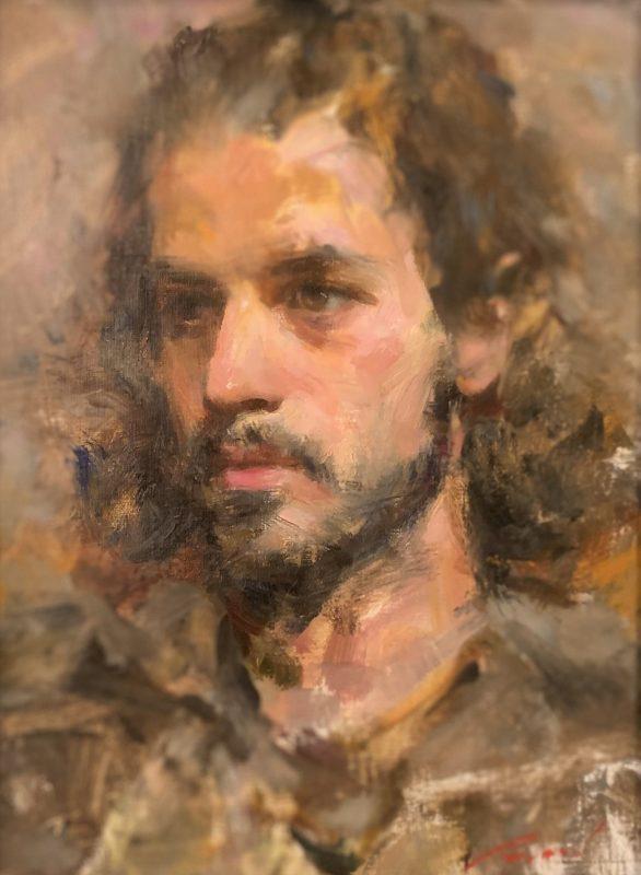 Michael Qian Michael male portrait impressionistic oil painting