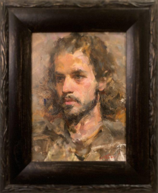 Michael Qian Michael male portrait impressionistic oil painting framed