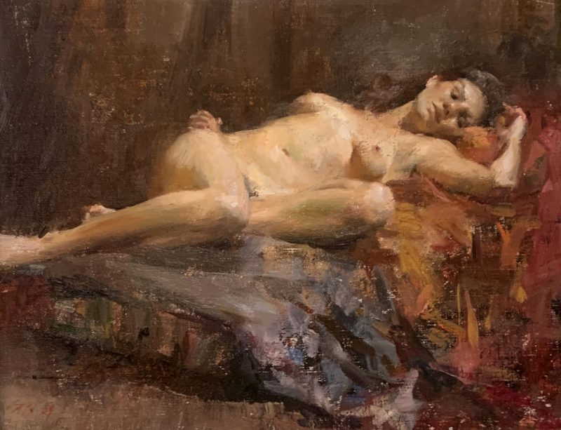 Mary Qian Nude Reclining naked woman figure figurative oil painting
