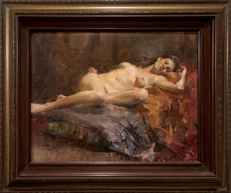 Mary Qian Nude Reclining naked woman figure figurative oil painting framed