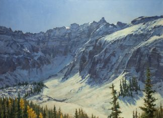 Darcie Peet September Breeze September Sparkle Alta Lake Telluride Colorado snow covered mountains icy lake snow mountain trees western oil landscape painting