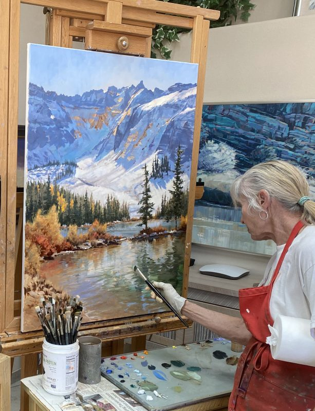 Darcie Peet September Breeze September Sparkle Alta Lake Telluride Colorado snow covered mountains icy lake snow mountain trees western oil landscape painting artist painting