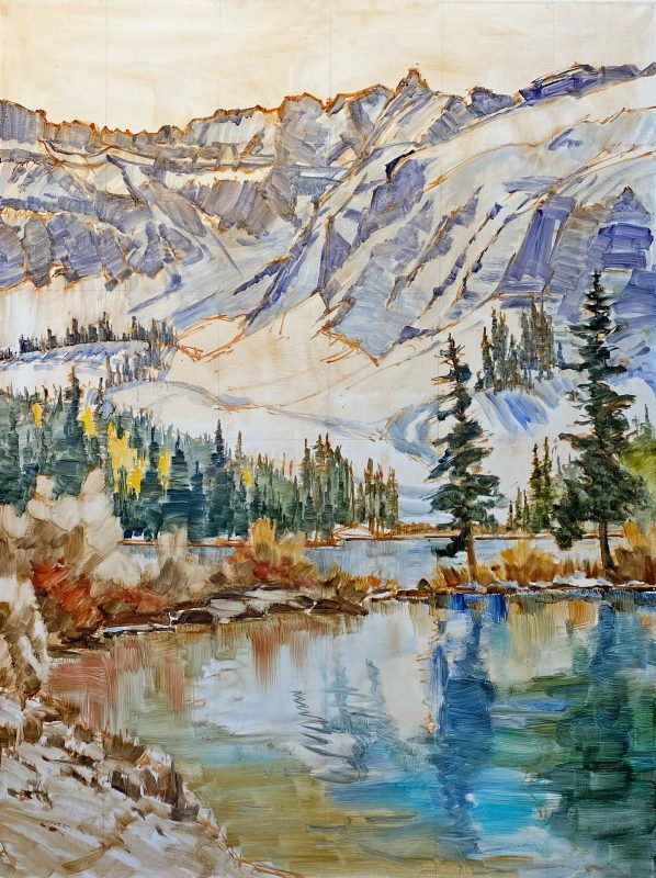 Darcie Peet September Breeze September Sparkle Alta Lake Telluride Colorado snow covered mountains icy lake snow mountain trees western oil landscape painting in progress