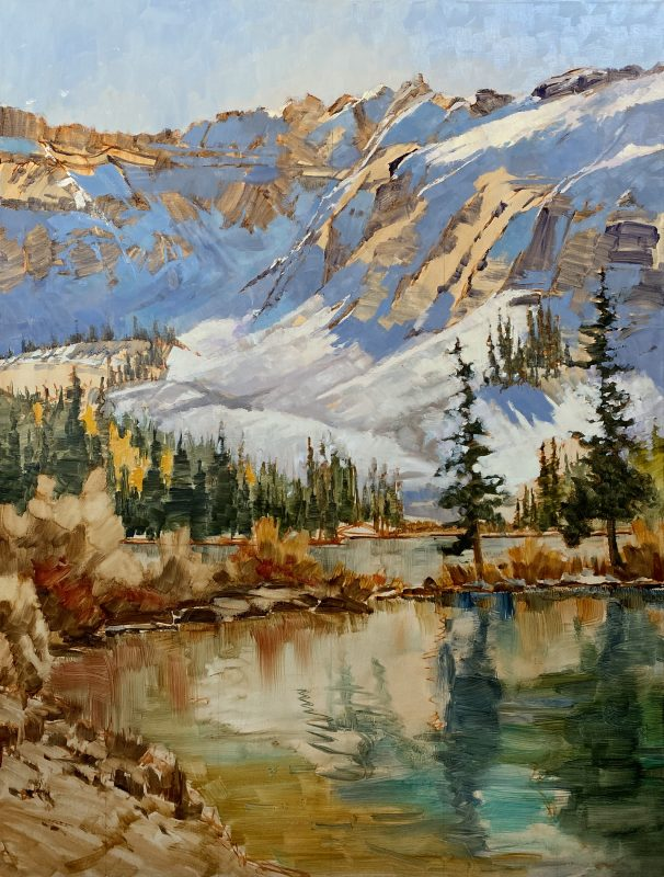 Darcie Peet September Breeze September Sparkle Alta Lake Telluride Colorado snow covered mountains icy lake snow mountain trees western oil landscape painting in process