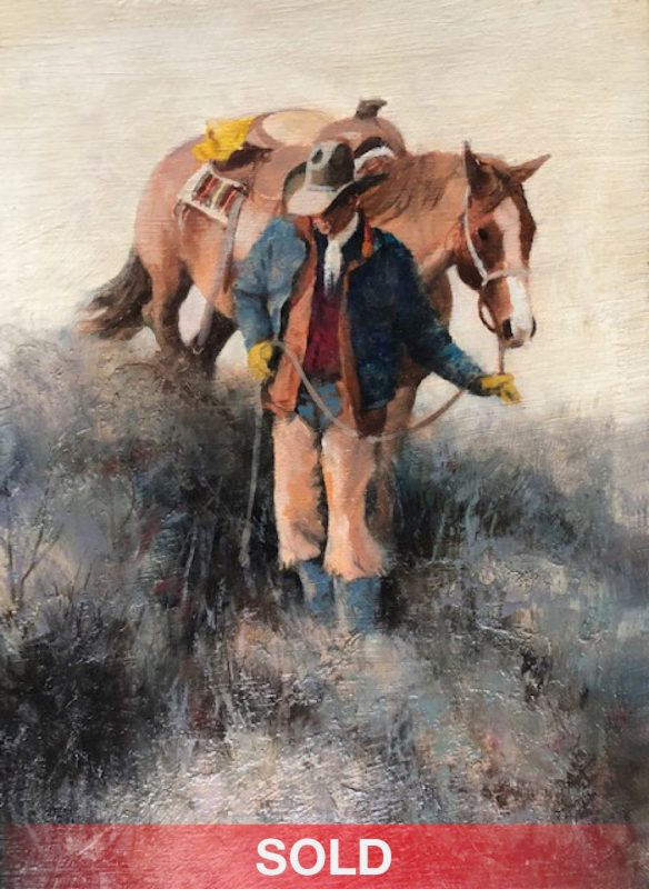 Howard Rogers Downhill Walk cowboy horse western oil painting sold
