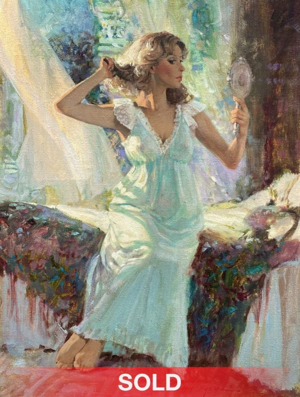 Howard Rogers Nighttime Beauty figure figurative woman girl intimate oil painting sold