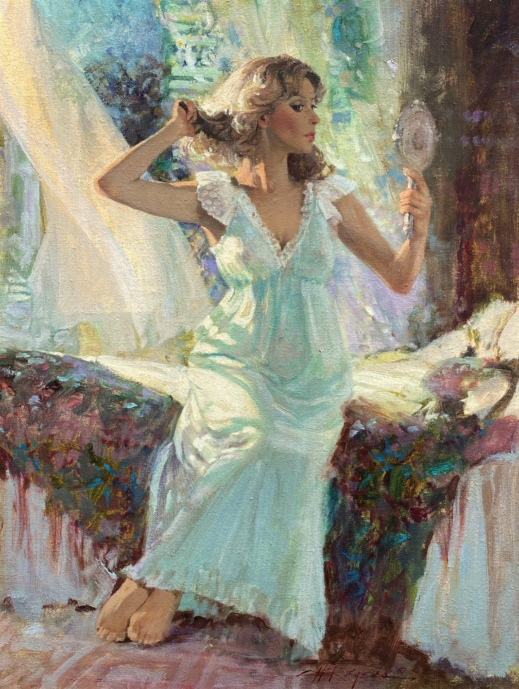 Howard Rogers Nighttime Beauty figure figurative woman girl intimate oil painting