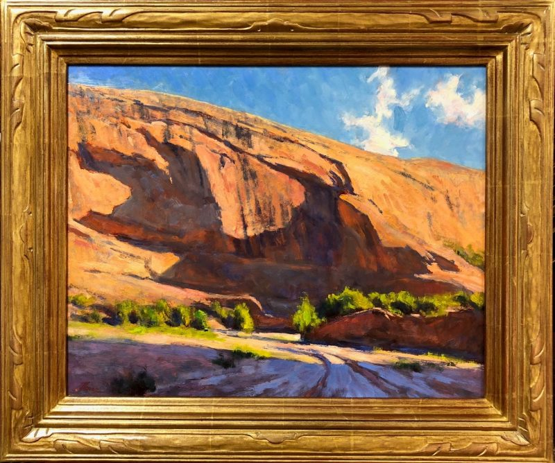 Lorenzo Chavez Shadows On The Mesa western oil landscape painting framed