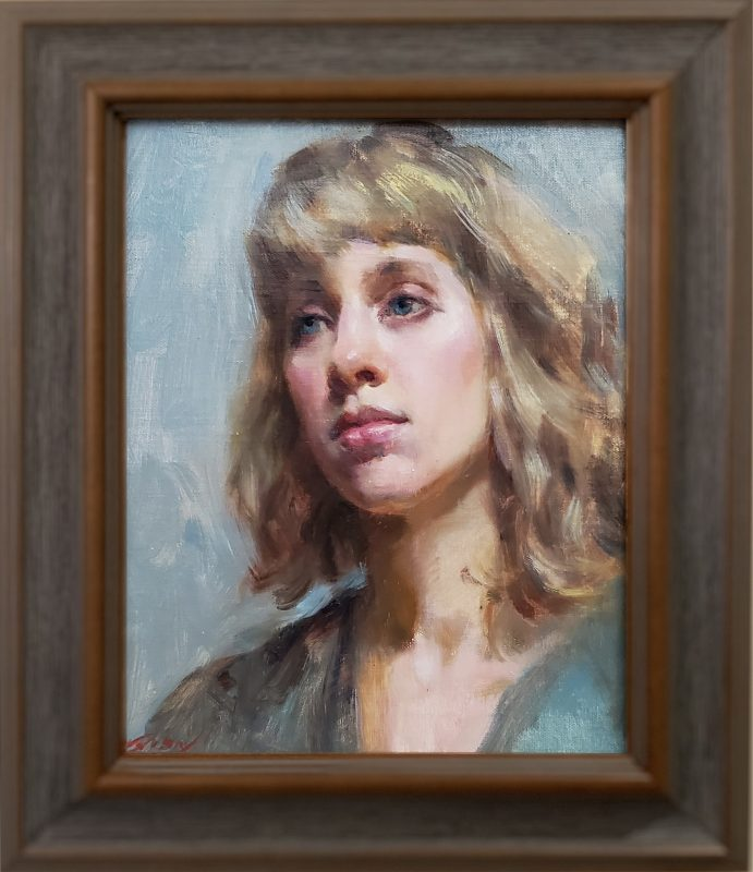 Mary Qian Camille female woman girl figure figurative portrait oil painting framed