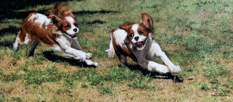 Sueellen Ross Off Leash running dogs spaniel action painting