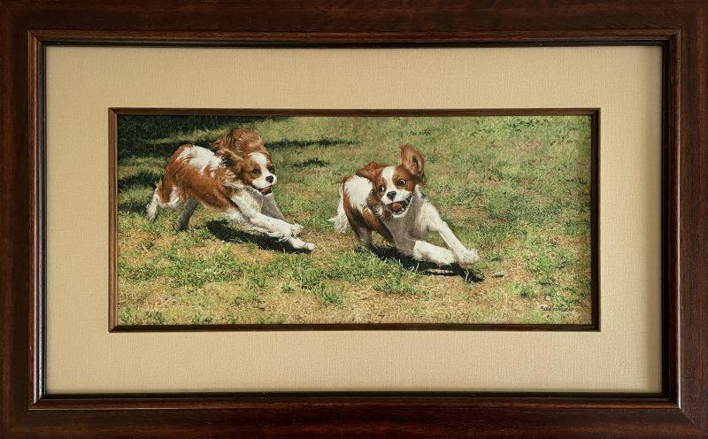 Sueellen Ross Off Leash running dogs spaniel action painting framed