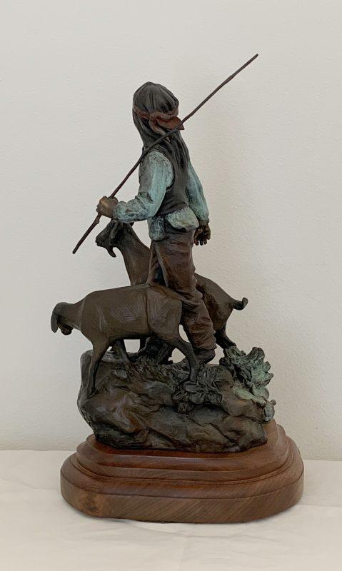 Susan Kliewer Dawn Boys Song Native American western bronze sculpture goat side