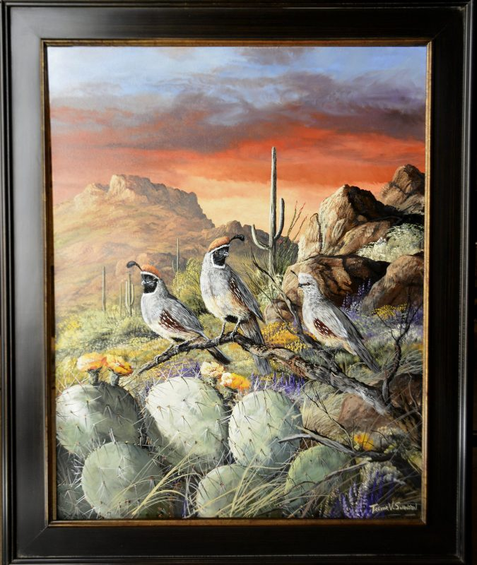 Trevor Swanson In A Glowing Sunset quail desert saguaro rocks mountain cacti prickly pear wildlife oil painting framed