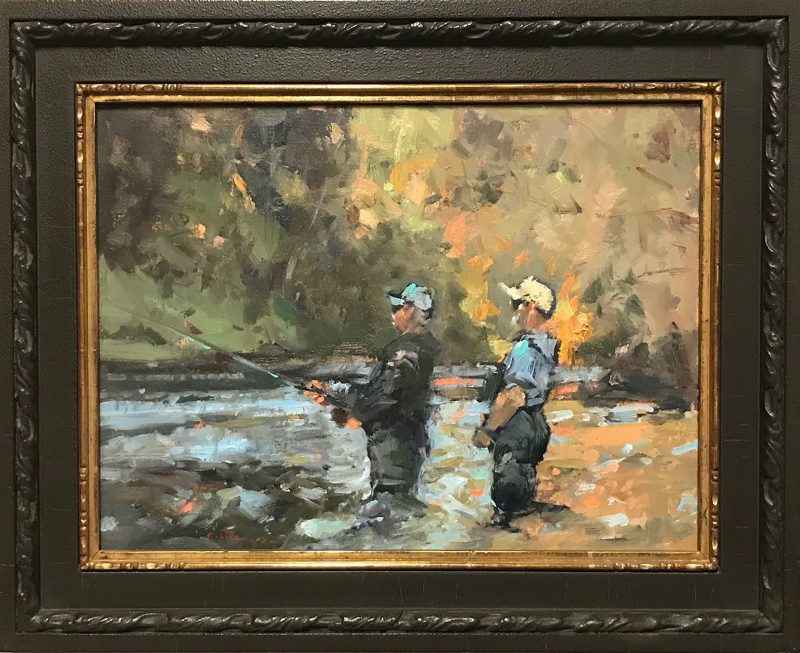 Gene Costanza Any Second Now fishing fly fish Scott Christensen stream river landscape oil painting framed