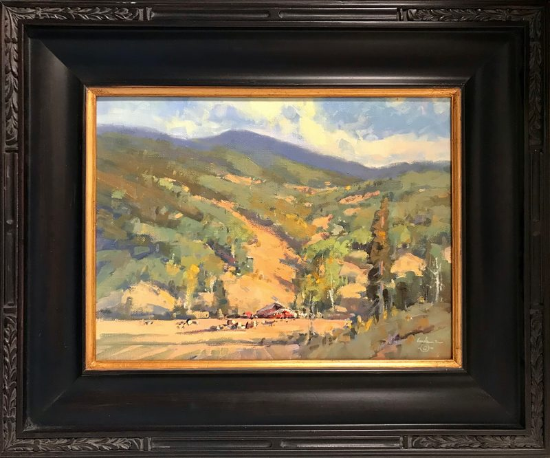 Gene Costanza August South Of Town Jackson Wyoming farm ranch cattle cow equine horse landscape oil painting framed