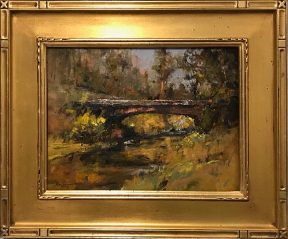 Gene Costanza Bridge In The Woods river stream landscape oil painting framed