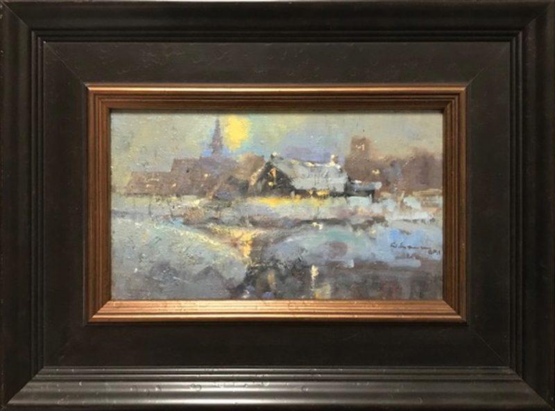 Gene Costanza Frost Bite snow buildings oil painting landscape framed