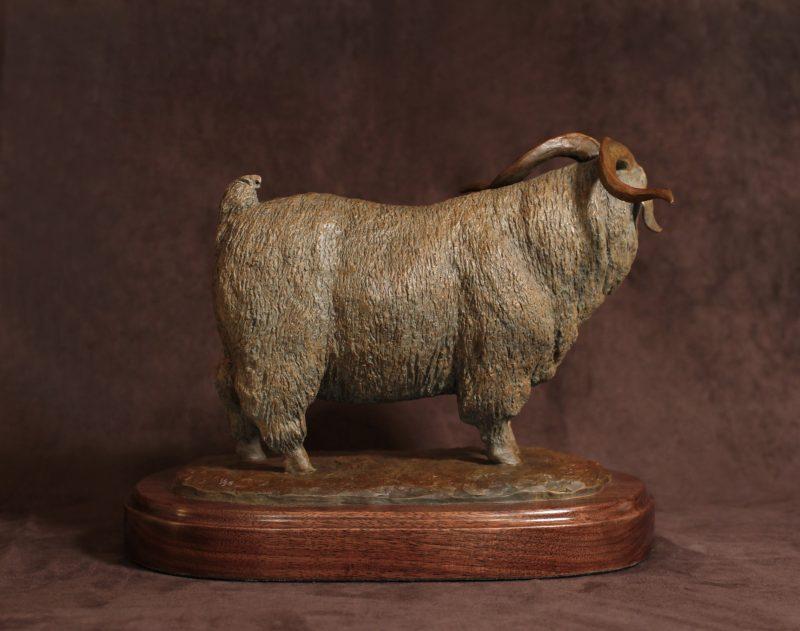Mary Ross Buchholz Angora Champ sheep goat western bronze sculpture back