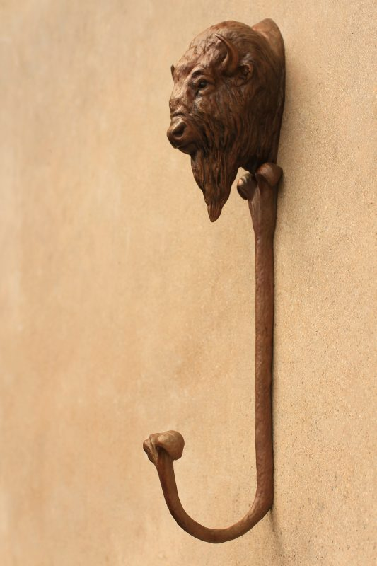 Mary Ross Buchholz Buffalo Hat Hook bison western bronze sculpture side