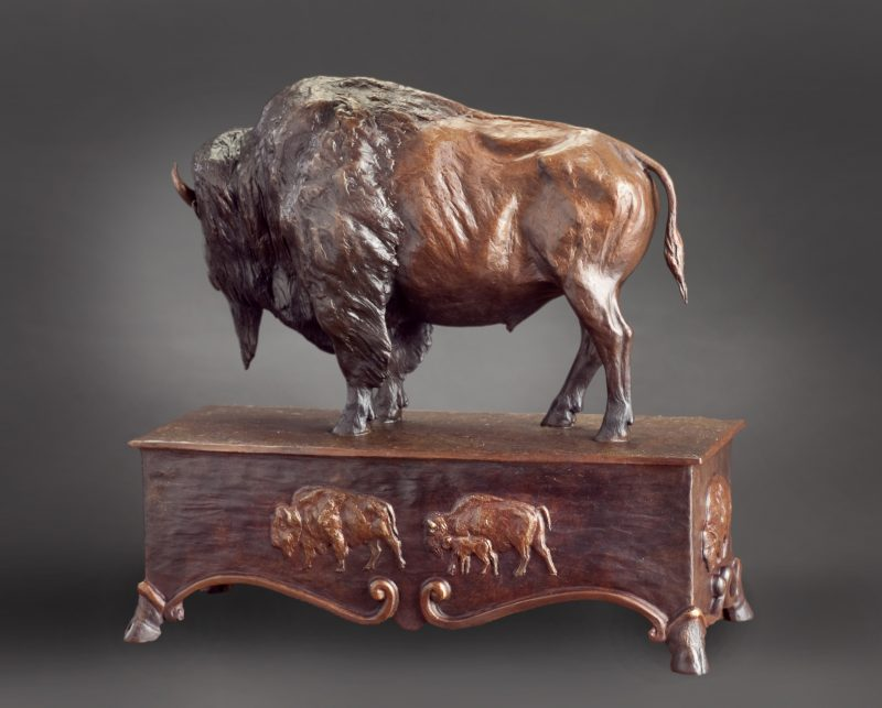 Mary Ross Buchholz Patriarch Of The Plains buffalo bison wildlife western bronze sculpture back