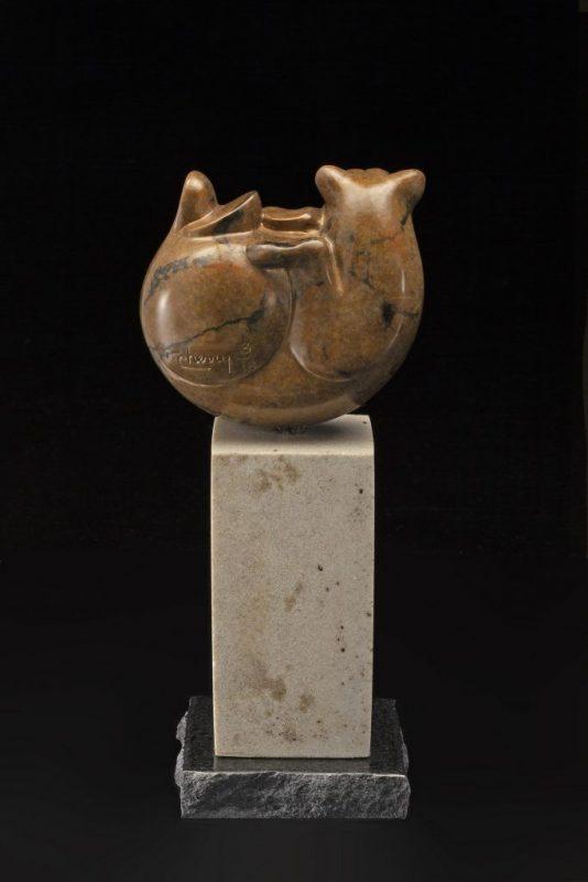 Tim Cherry Bear Ball contemporary wildlife bronze sculpture back