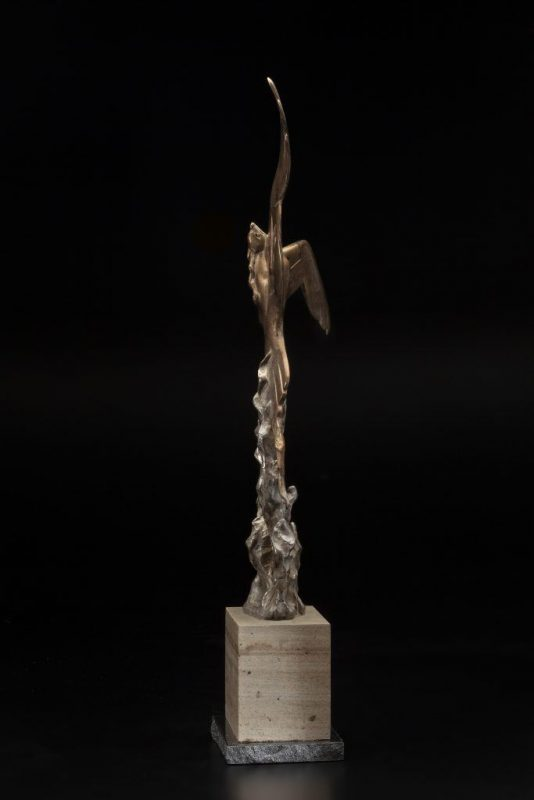 Tim Cherry From The Flames Phoenix bird rising from flame fire contemporary wildlife bronze sculpture side 2