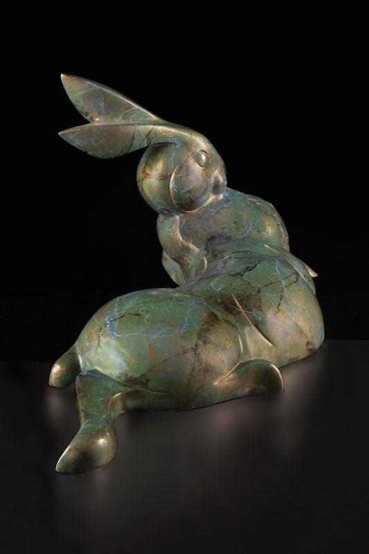 Tim Cherry Garden's Edge rabbit contemporary wildlife bronze sculpture side