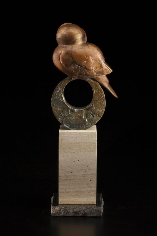 Tim Cherry Treehouse owl contemporary wildlife bronze sculpture back