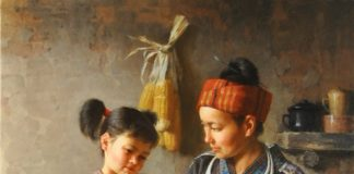 Jie Wei Zhou New Shoes mother and daughter figure portrait figurative Asian Chinese oil painting