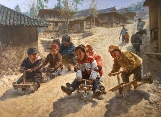 Jie Wei Zhou Race To The Finish Line children boy girl boys girls competition Asian Chinese oil painting