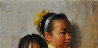 Jie Wei Zhou Sisters mother and daughter figure portrait figurative Asian Chinese oil painting