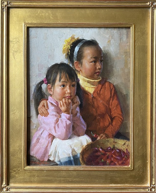 Jie Wei Zhou Sisters mother and daughter figure portrait figurative Asian Chinese oil painting framed