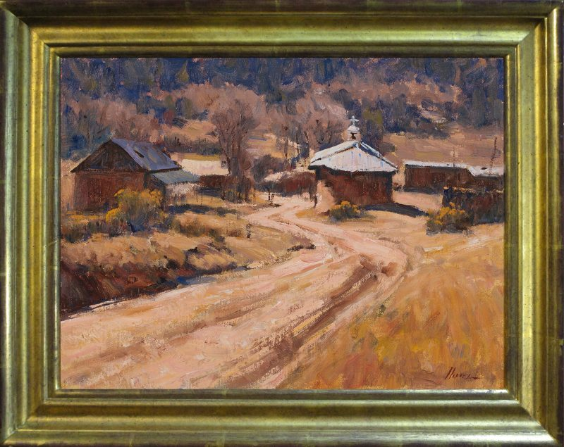 Lorenzo Chavez Sun Silence and Adobe New Mexico landscape architecture oil painting church framed