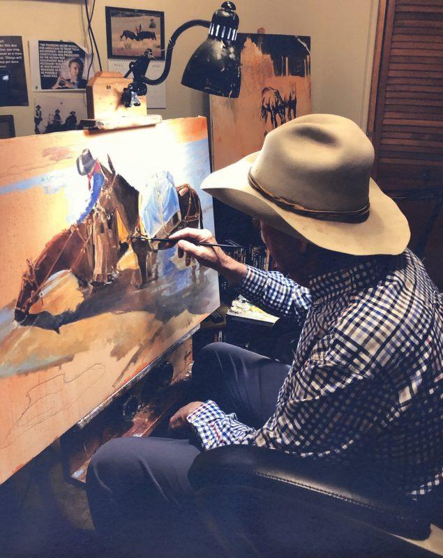 Tom Dorr artist cowboy painting easel paint photo
