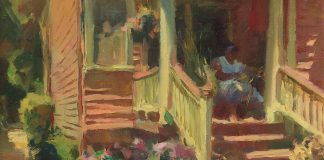 Kevin Macpherson The Basket Maker architecture woman house home craft artist oil painting