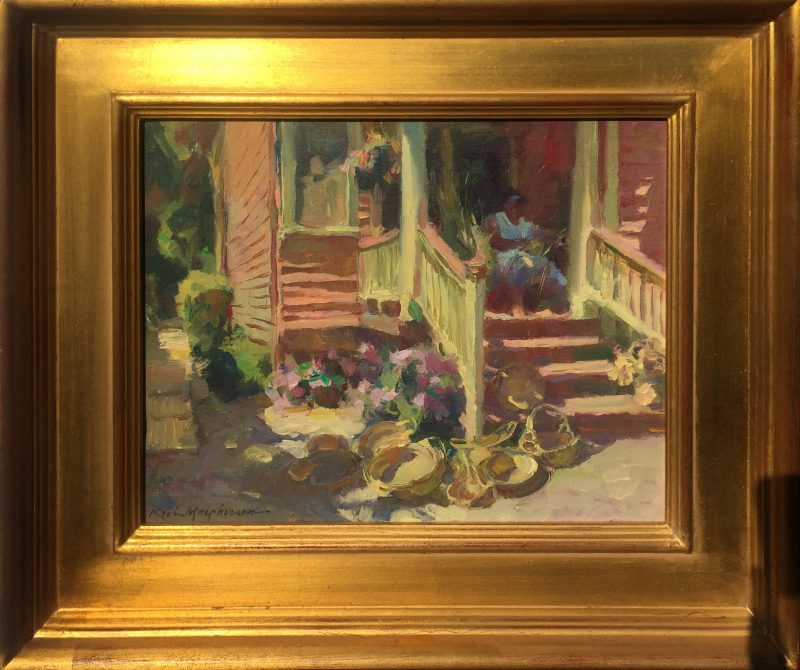 Kevin Macpherson The Basket Maker architecture woman house home craft artist oil painting framed