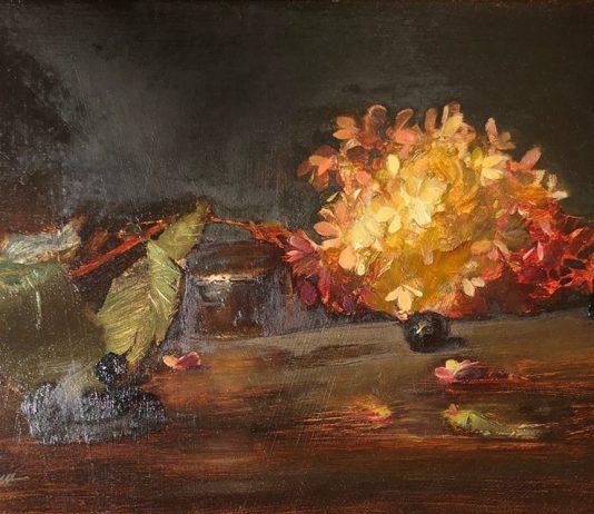 Sherrie McGraw still life stillife fruit flowers oil painting
