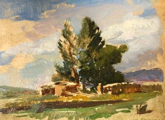 Sherrie McGraw An Afternoon With David landscape tree oil painting